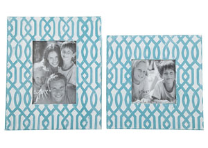 Baina Teal/White Photo Frame (Set of 2) (2/CS)