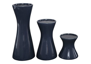 Cais Navy Candle Holder (Set of 3)