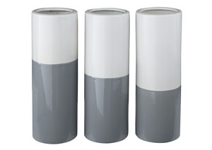 Dalal Gray/White Vase (Set of 3)
