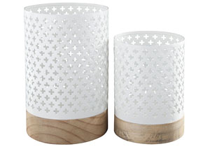 Daichi White/Natural Candle Holder (Set of 4)