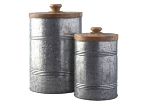 Divakar Antique Gray 2 Piece Jar Set