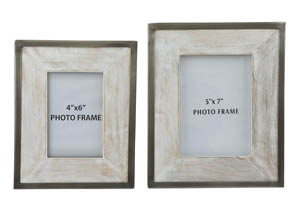 Kadija White Wash/Silver Finish Photo Frame (Set of 2)