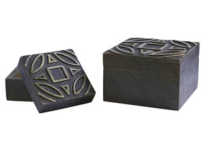 Marquise Antique Black Box (Set of 2)