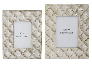 Kaeden Silver Leaf Photo Frame (Set of 2)