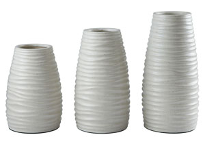 Kaemon White Vase (Set of 3),Signature Design by Ashley