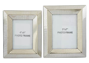 Keyon Nickel Finish Photo Frame (Set of 2)