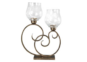 Oba Antique Gold Finish Candle Holder