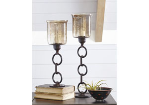Oana Bronze Finish Candle Holder (Set of 2)(2/CS)