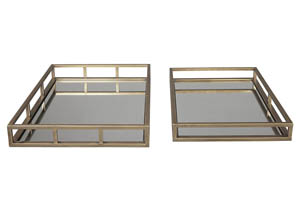 Ocie Antique Gold Finish Tray (Set of 2)