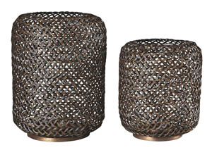 Odbart Antique Bronze Finish Candle Holder (Set of 2)