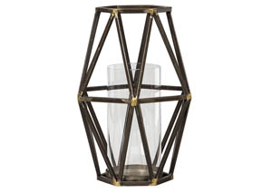 Devo Black/Gold Finish Candle Holder,Signature Design by Ashley