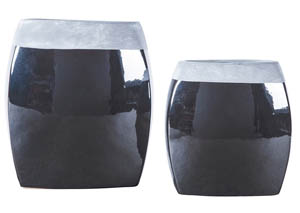 Derring Black/Nickel Finish Vase Set (2/CN)