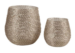 Desdemona Silver Finish Candle Holder (Set of 2)