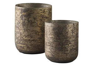 Christelle Antique Gray Candle Holder Set (Set of 2)