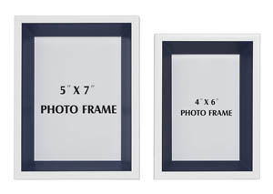 Obie White/Navy Photo Frame