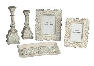 Dilys Antique White 5-Piece Accessory Set