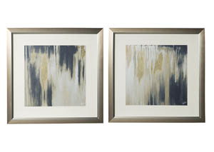 Constanza Blue/Cream/Gold Finish Wall Art (Set of 2)