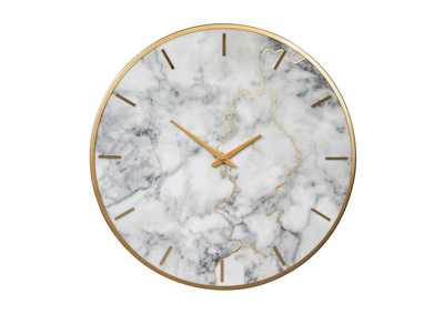 Jazmin Gray/Gold Finish Wall Clock,Signature Design by Ashley