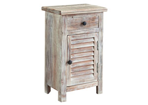 Charlowe White Wash Door Nightstand