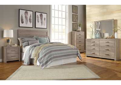 Culverbach Gray Queen/Full Panel Headboard w/Dresser & Mirror