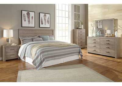 Culverbach Gray King Panel Bed w/Dresser, Mirror and Nightstand