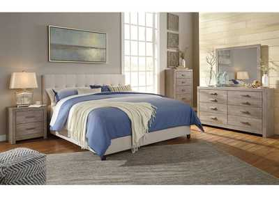 Queen Cream Upholstered Bed