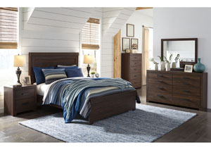 Arkaline Brown Queen Panel Bed w/Dresser, Mirror & Drawer Chest