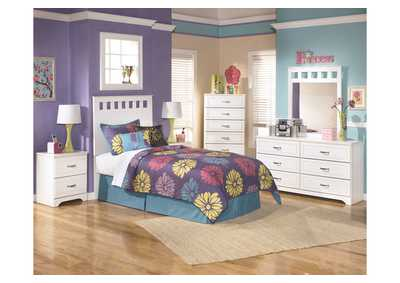 Lulu Twin Panel Headboard w/Dresser, Mirror, Drawer Chest & Nightstand