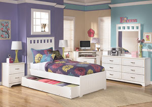 Lulu Twin Panel Bed w/Storage, Dresser & Mirror