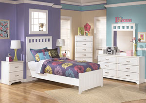 Lulu Twin Panel Bed w/Dresser, Mirror, Drawer Chest & Nightstand