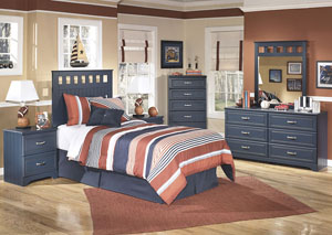Leo Twin Panel Headboard w/Dresser, Mirror, Drawer Chest & Nightstand