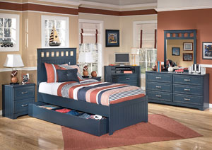 Leo Twin Panel Storage Bed w/Dresser, Mirror & Drawer Chest