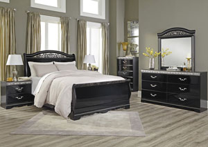 Constellations Black Queen Sleigh Bed