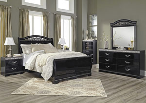 Constellations Black Queen Sleigh Bed w/Dresser, Mirror, Drawer Chest & Nightstand