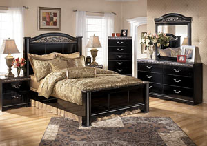 Constellations King Poster Bed w/Dresser, Mirror & Drawer Chest
