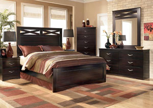 X-cess Queen Panel Bed, Dresser, Mirror & Chest