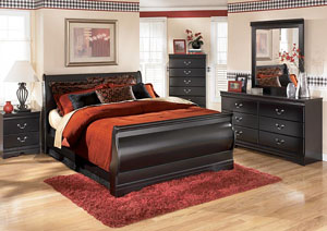 Huey Vineyard King Sleigh Bed w/Dresser, Mirror & Nightstand