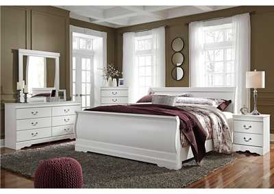 Anarasia White King Sleigh Bed w/Dresser, Mirror & Drawer Chest