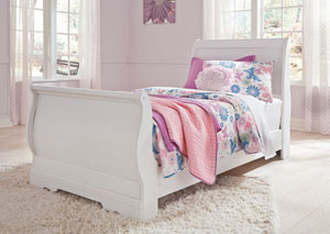 Anarasia White Twin Sleigh Rails Twin Sleigh Bed