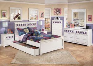 Zayley Full Panel Bed w/Storage, Dresser, Mirror & Drawer Chest