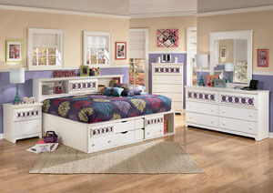 Zayley Full Bookcase Bed w/Dresser & Mirror