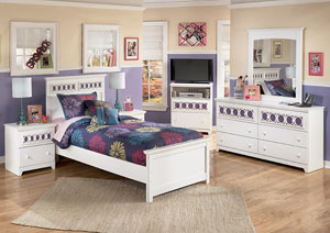 Zayley Twin Panel Bed w/Dresser, Mirror, Drawer Chest & 2 Nightstands