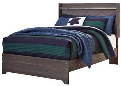Annikus Gray Twin Upholstered Panel Bed