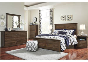 Burminson Brown Queen Panel Bed w/Dresser, Mirror, Drawer Chest and Nightstand,Signature Design by Ashley