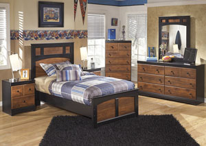 Aimwell Twin Panel Bed w/Dresser, Mirror, Drawer Chest & 2 Nightstands