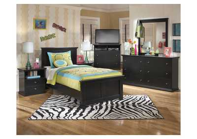 Maribel Twin Panel Bed w/Dresser, Mirror, Drawer Chest & 2 Nightstands
