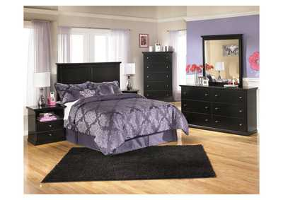 Maribel Black 1 Drawer Nightstand