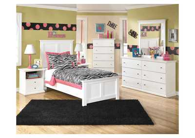 Bostwick Shoals Twin Panel Bed w/Dresser, Mirror, Drawer Chest & Nightstand