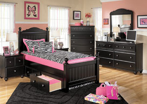 Jaidyn Twin Poster Storage Bed w/Dresser & Mirror