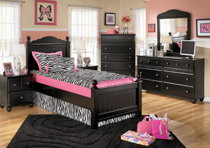 Jaidyn Twin Poster Bed w/Dresser, Mirror, Chest & Nightstand
